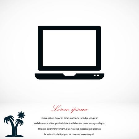 led display: Vector monitor icon, flat design best vector icon