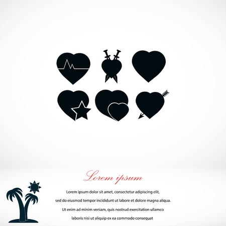 hot couple: hearts icons vector, flat design best vector icon Illustration