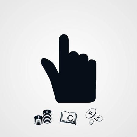 Mano icono del cursor vector, diseño plano el mejor icono del vector Foto de archivo - 78569406