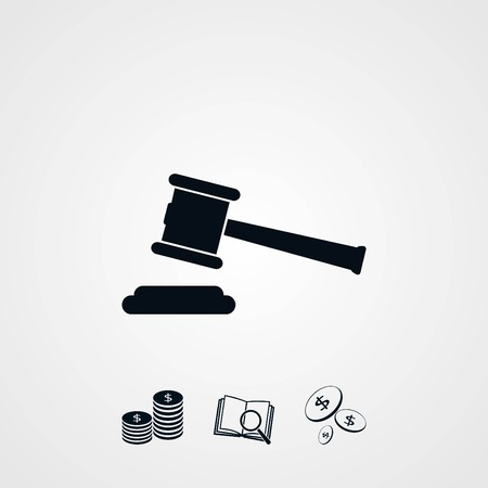 Hammer judge vector icon, flat design best vector icon
