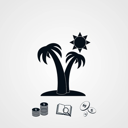 Palm trees and sun icon, flat design best vector icon