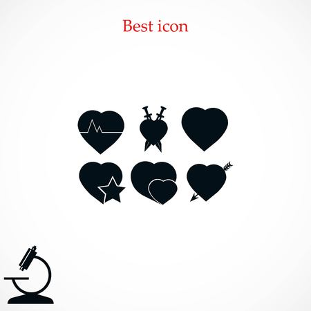 hot couple: Hearts icons vector, flat design best vector icon