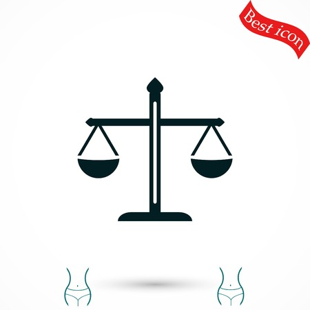 justice scale: scale icon vector, flat design best vector icon