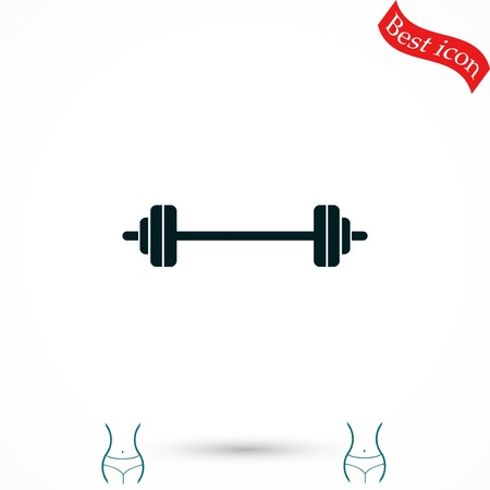 gym equipment: barbel icon vector, flat design best vector icon Illustration