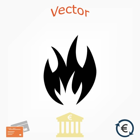 flammable: fire icon vector, flat design best vector icon Illustration