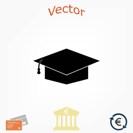 Graduation cap bleck icon, flat design best vector icon