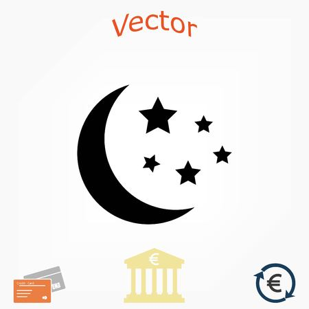Moon and stars icon, flat design best vector icon