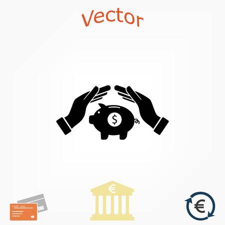 Vector icon saving, piggy bank, flat design best vector icon