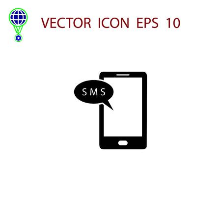 Smartphone sms icon, flat design best vector icon