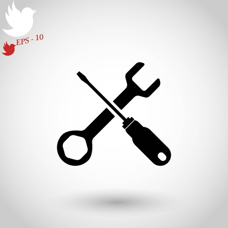screwdriver and wrench icon, flat design best vector icon