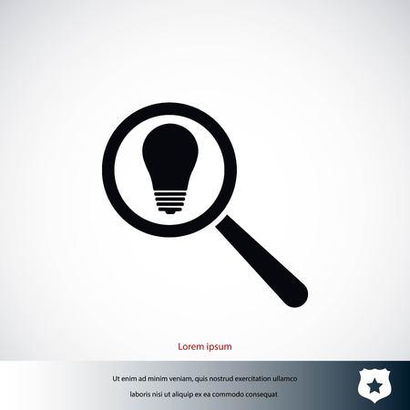 pharmacy symbol: microscope and lightbulb icon, flat design best vector icon
