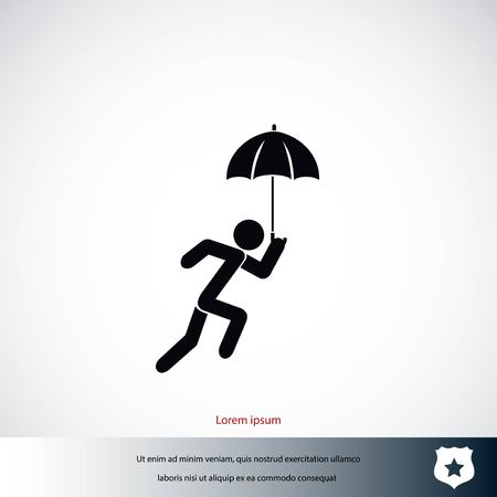 guy standing: A person with an umbrella icon, flat design best vector icon Illustration