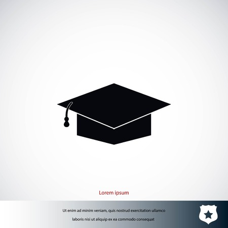 Graduation cap icon, flat design