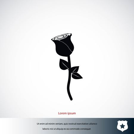 Rose icon vector, flat design