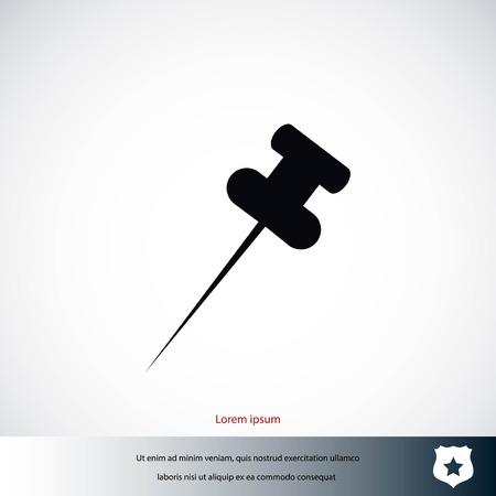 Push pin icon, flat design vector illustration Illustration