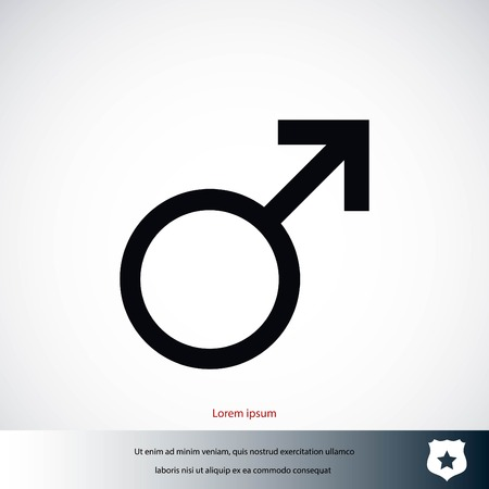 Male symbol icon, flat design