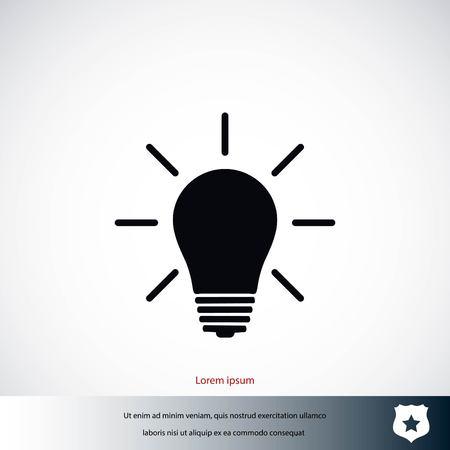 Light bulb lighting icon, flat design Illustration