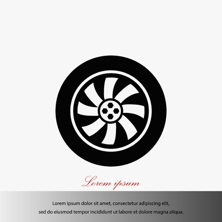 car isolated: Wheel vector icon, flat design best vector icon