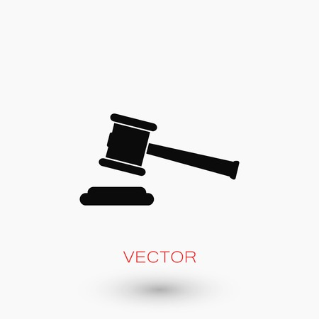 Hammer judge vector icon, flat design best vector icon.
