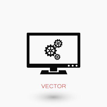 ノートパソコンのアイコンを設定し、フラットなデザインの最高のベクトルアイコン