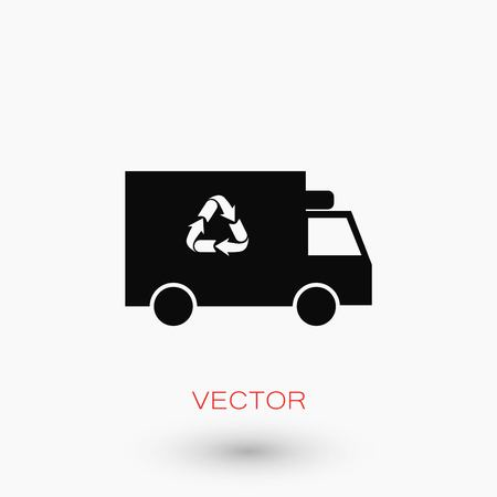 car isolated: Recycle truck icon, flat design best vector icon. Illustration