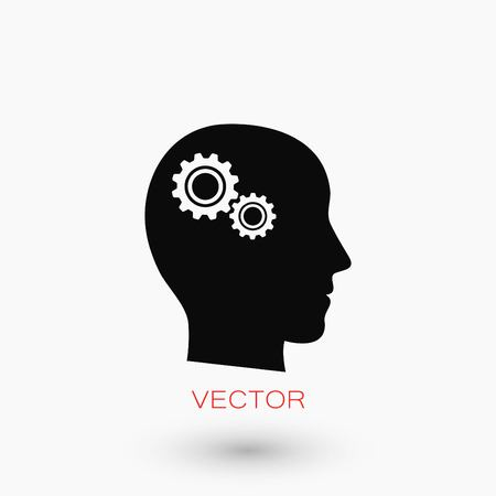 gears: Pictograph of gear in head icon, flat design best vector icon.