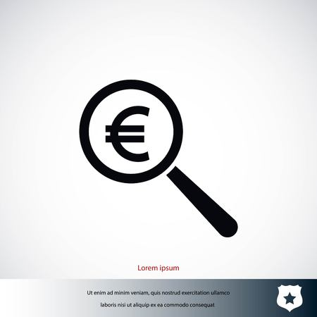 Search euro money icon, flat design best vector icon Illustration