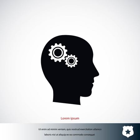Pictograph of gear in head icon, flat design best vector icon Vectores