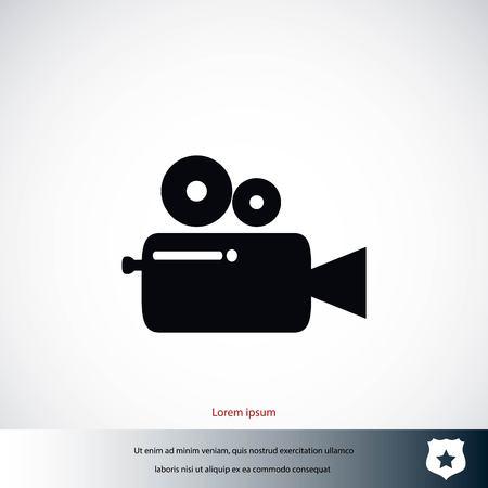 Cinema camera icon, flat design best vector icon