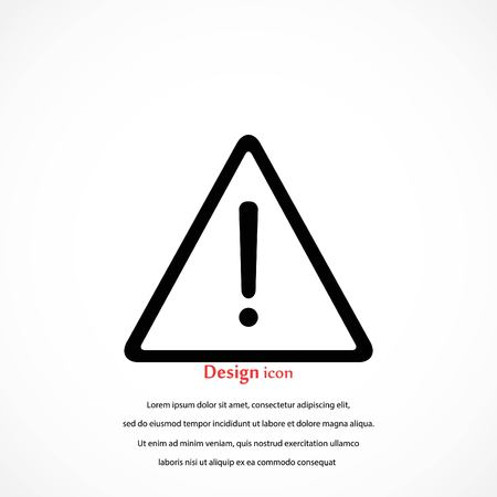 Warning road sign vector icon, flat design best vector icon. Illustration