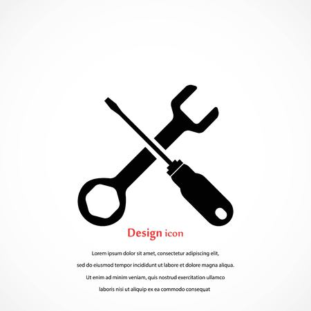 Screwdriver and wrench icon, flat design best vector icon.