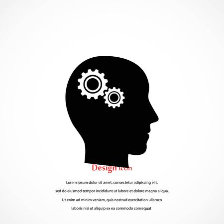 Pictograph of gear in head icon, flat design best vector icon illustration.