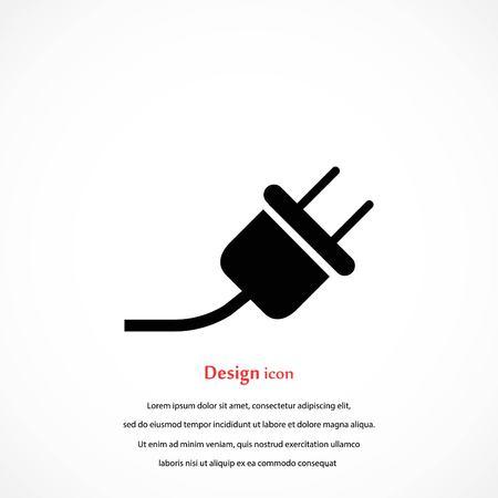 An electrical plug icon, flat design.