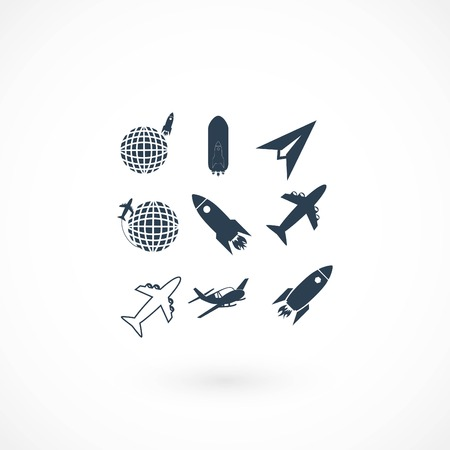 Earth and rockets icon, flat design best vector icon