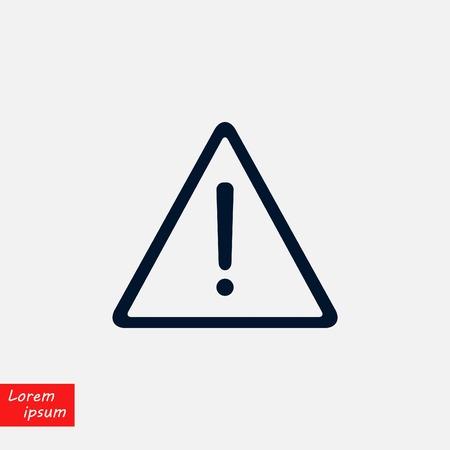 warning road sign vector icon, flat design illustration.