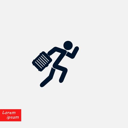 People with bag icon, flat design illustration.
