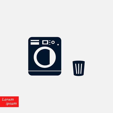 Laundry icons vector, flat design illustration.