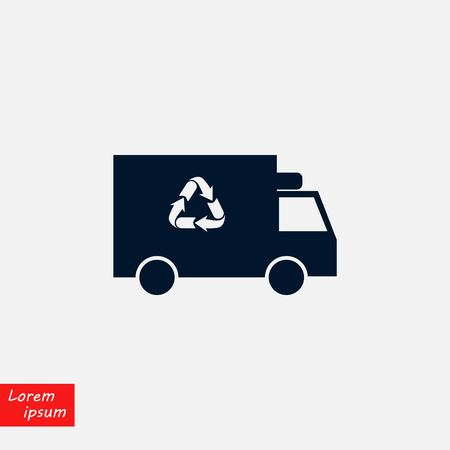 Recycle truck icon, flat design illustration.