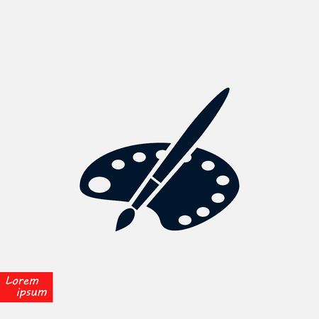 paint pallets and brush vector icon, flat design illustration.