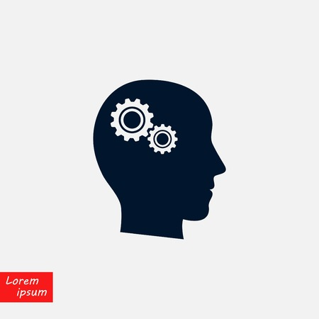 Pictograph of gear in head icon, flat design illustration. Vectores