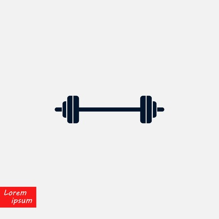 barbel icon vector, flat design illustration. Stock Vector - 99184660