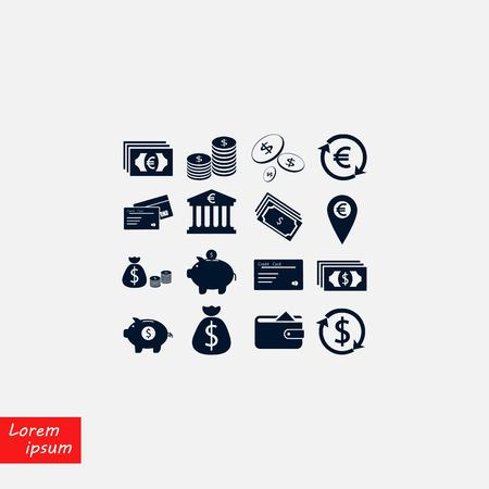 Finance Icons vector, flat design illustration.