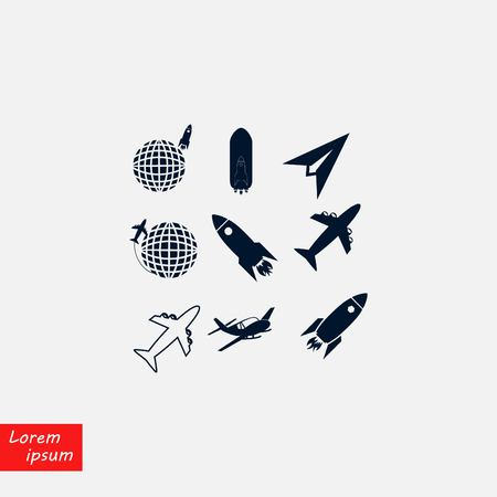Earth and rockets icon, flat design illustration.
