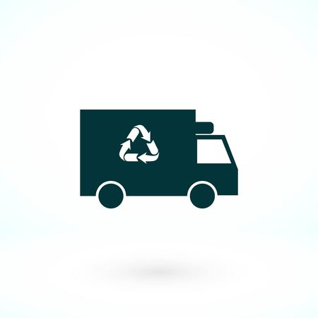 Recycle truck icon, flat design best vector icon Иллюстрация