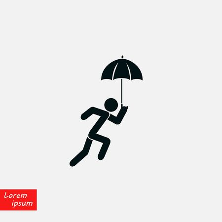 A person with an umbrella icon, flat design best vector icon Çizim