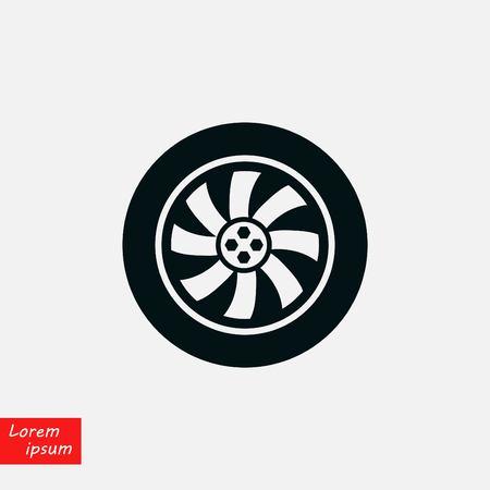 Wheel vector icon, flat design best vector icon