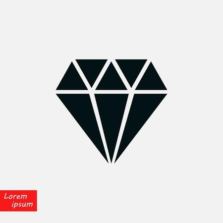 Diamond icon  flat design illustration.