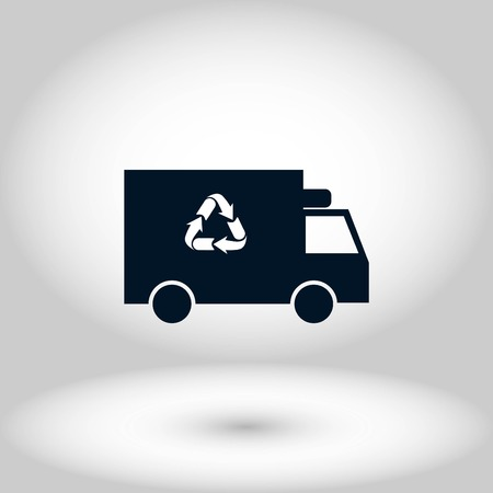 Recycle truck icon, flat design best vector icon Vectores