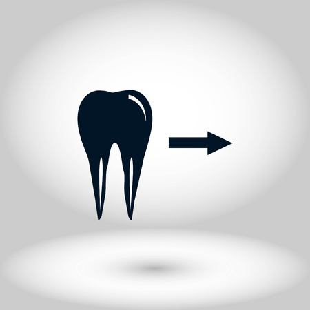 Tooth indicates the direction. icon. vector, flat design best vector icon Ilustração