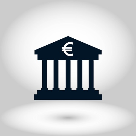 Euro Bank vector icon, flat design best vector icon Çizim